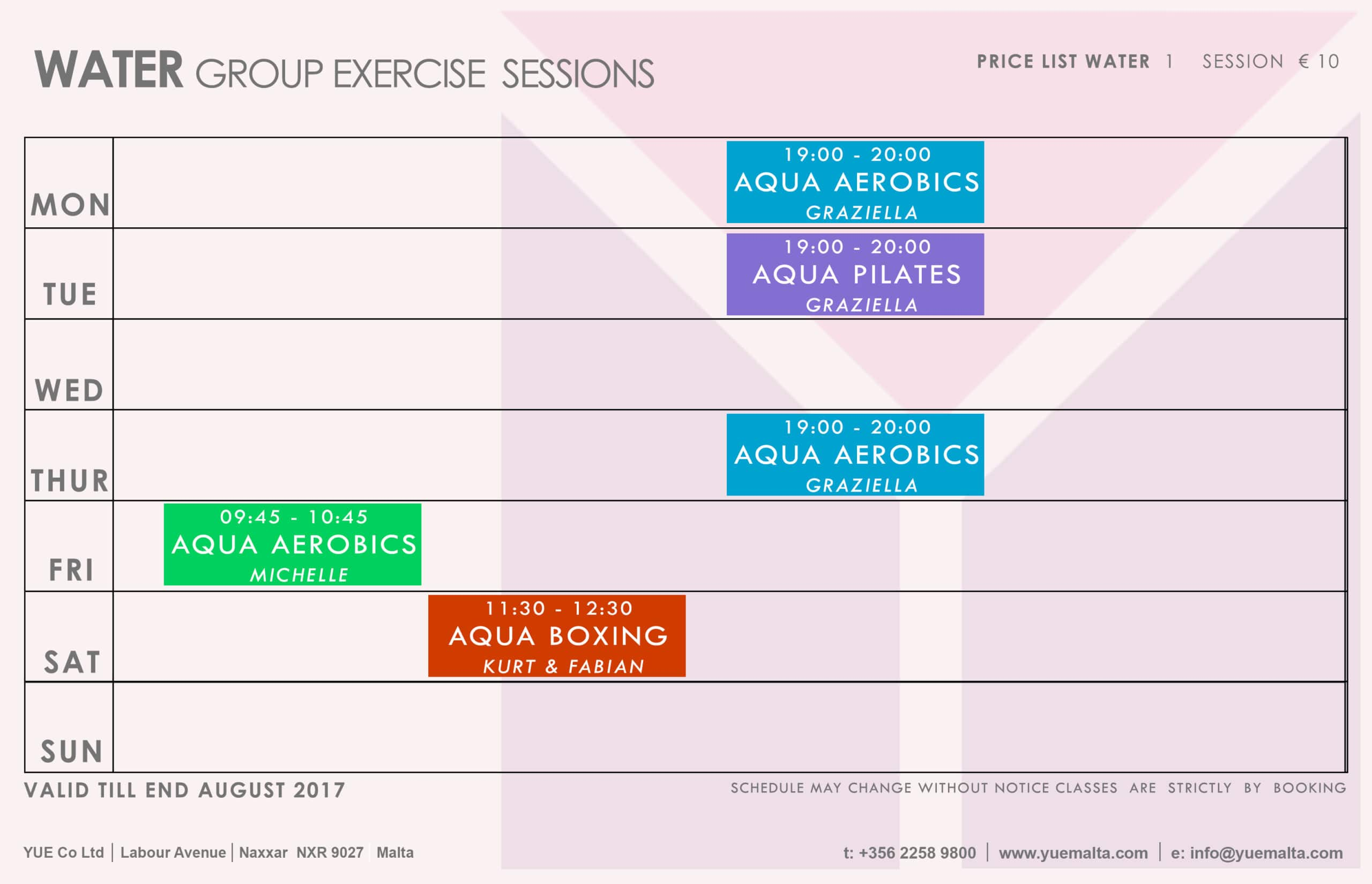 GX Schedule - TILL AUGUST 17 COLOUR TABLE - WATER GROUP 31-05
